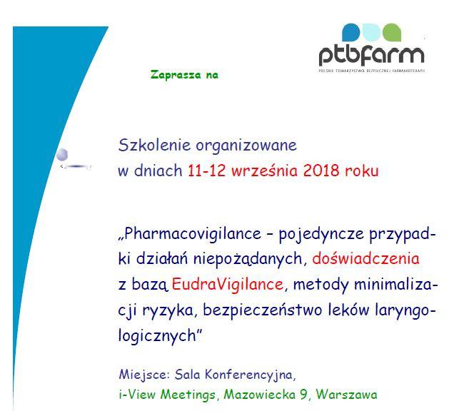 """738e737cd5 Zaproszenie na szkolenie  """"Pharmacovigilance – pojedyncze przypadki działań  niepożądanych"""